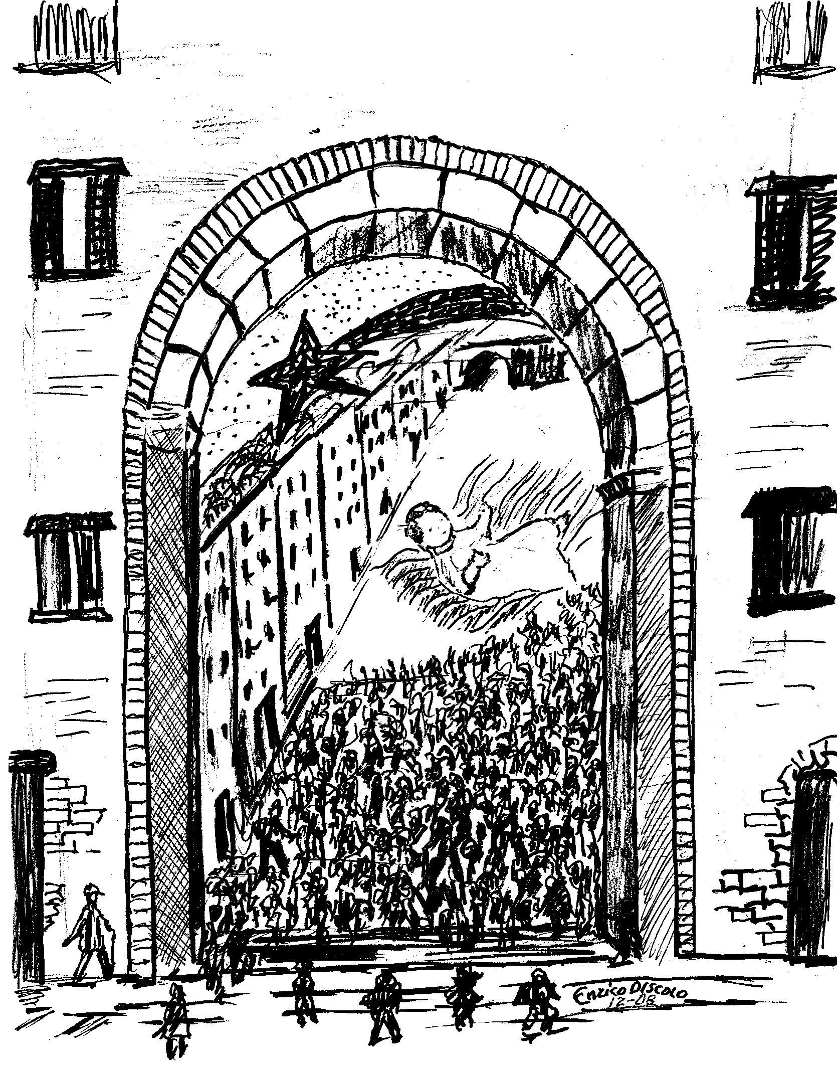 La fiumana di gente all'Arco del Cognulo in occasione della processione di Gesù Bambino (disegno Edis - 12-08)