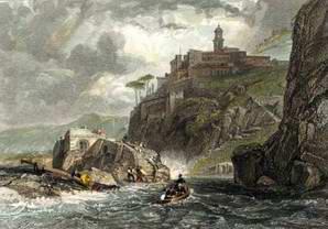 Persano Bay of Naples - (Acquerellata a mano nell'800)