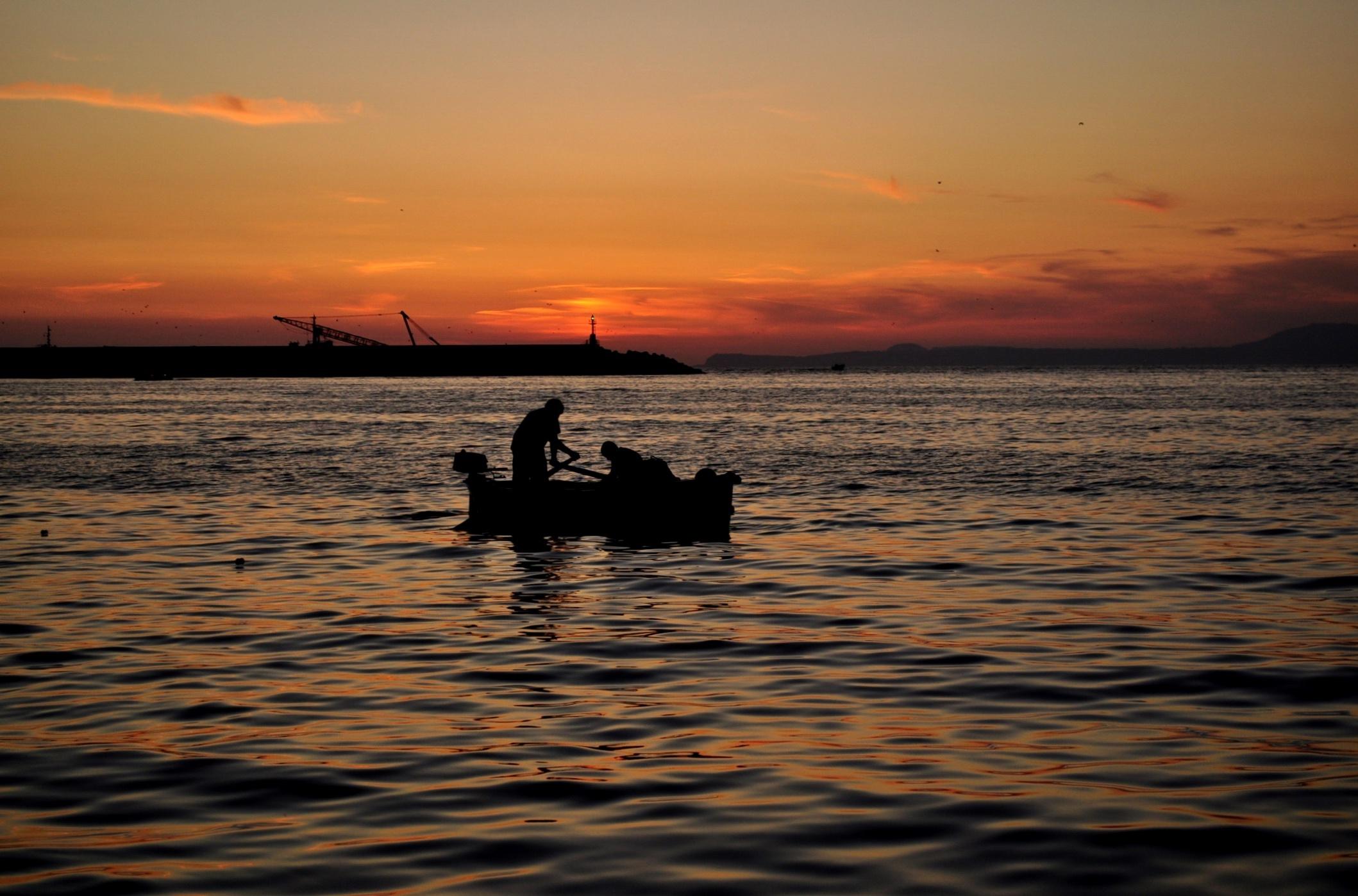 Barcaiolo al tramonto