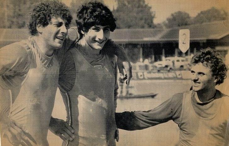 Carmine e Giuseppe Abbagnale con il timoniere Peppiniello Di Capua