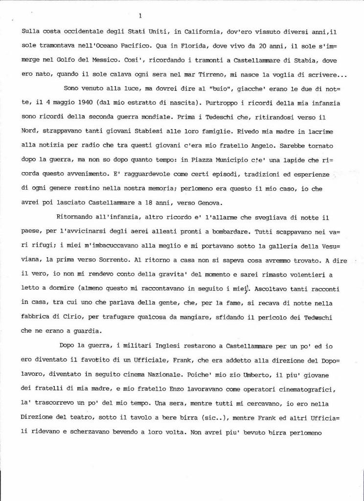 Peppe Cuomo dattiloscritto 1