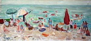 Bagnanti alla spiaggia di Pozzano