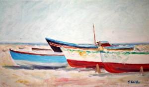 Barche a riposo sulla spiaggia