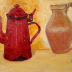 Caffettiera rossa e brocca