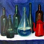 Composizione Bottiglie e Caffettiera Rossa