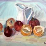 Composizione di frutta e brocca