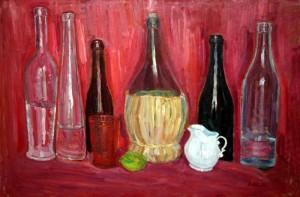 Fiaschetta e bottiglie su sfondo rosso