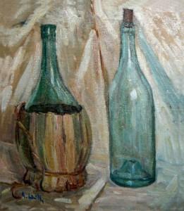 Fiasco impagliato e bottiglia