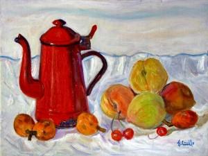 Frutta con caffettiera rossa