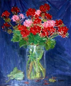 Mazzetto di fiori in vaso trasparente