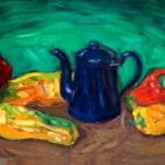 Peperoni con caffettiera blu