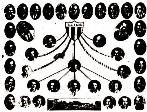 """Stabia: squadra e dirigenza (cartolina commemorativa """"Mimì Paolercio"""")"""