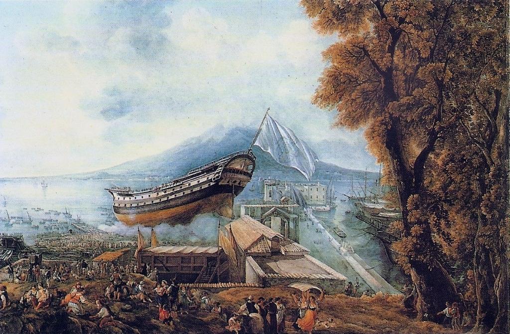 Varo del vascello Archimede (dipinto di L. Ducros posto nel Museè Cantonal Des Beaux-Arts di Losanna).
