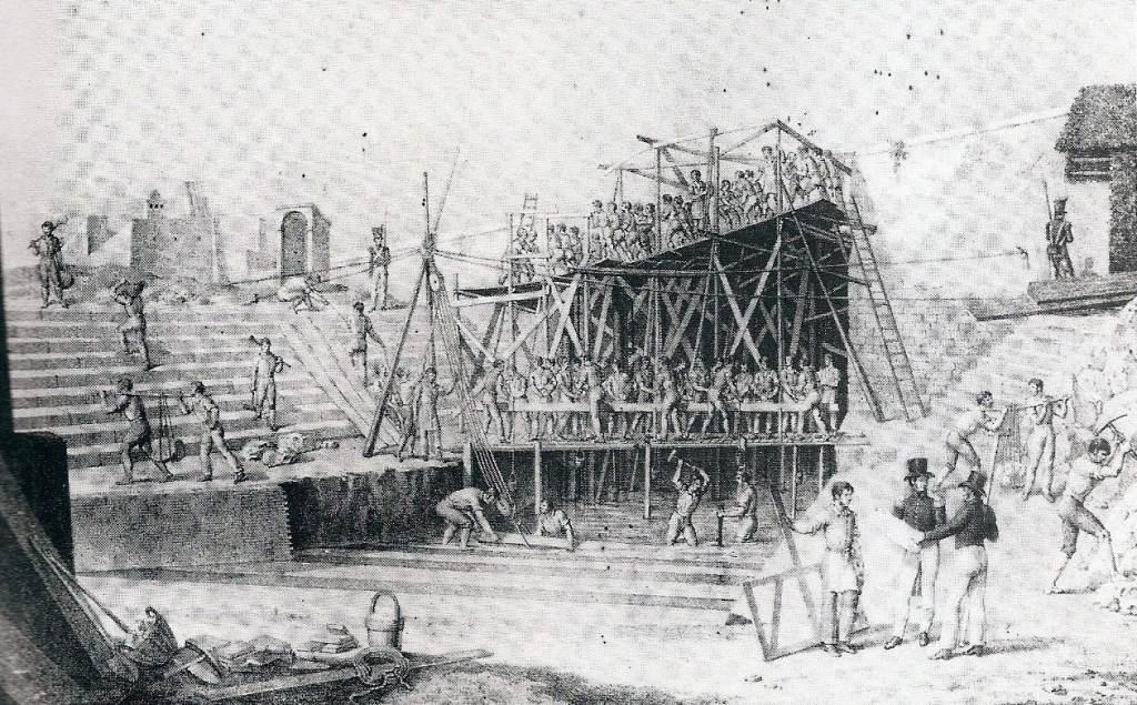 La costruzione dell'avantiscalo (litografia di G. Aloja - Museo di San Martino).