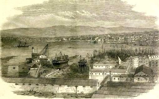 """Il """"Borbona"""" pronta al varo, sugli scali di Castellammare (stampa d'epoca coll. G. Fontana)"""