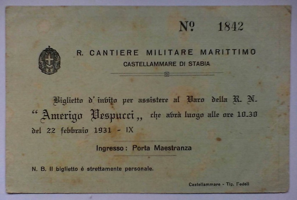 Invito varo Vespucci (fronte)