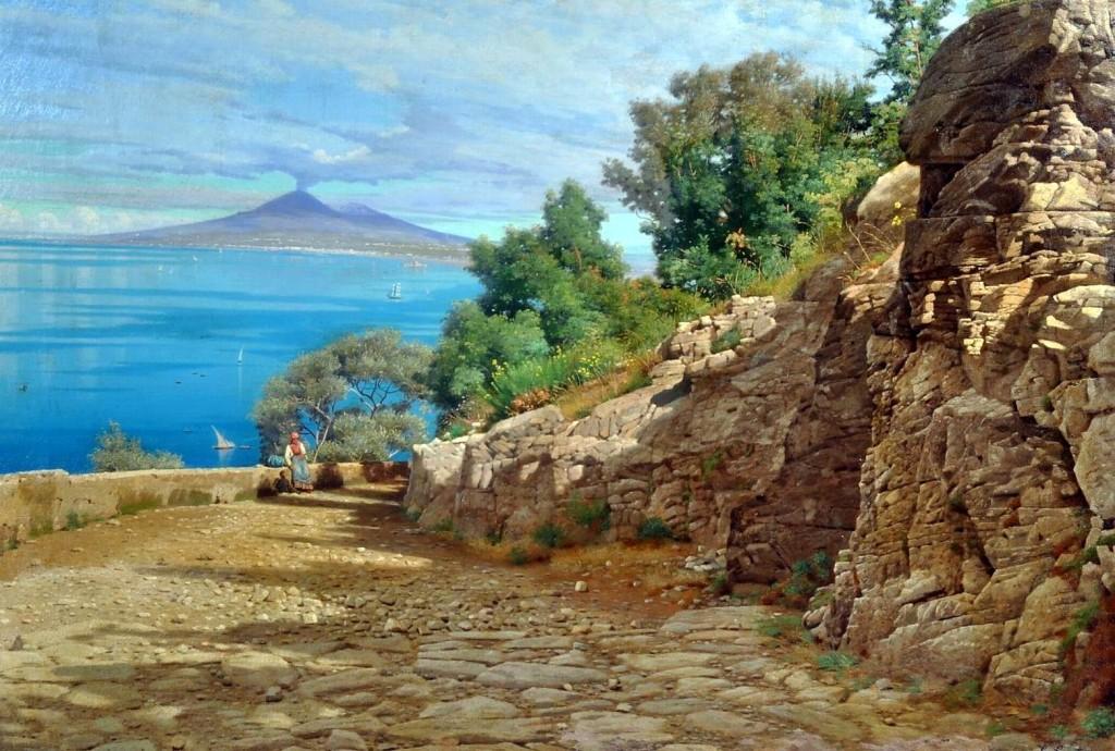 Gaeta Enrico (Castellamare di Stabia 1840 - 1887) Da Via Fratte a Castellammare olio su tela, cm 71x100