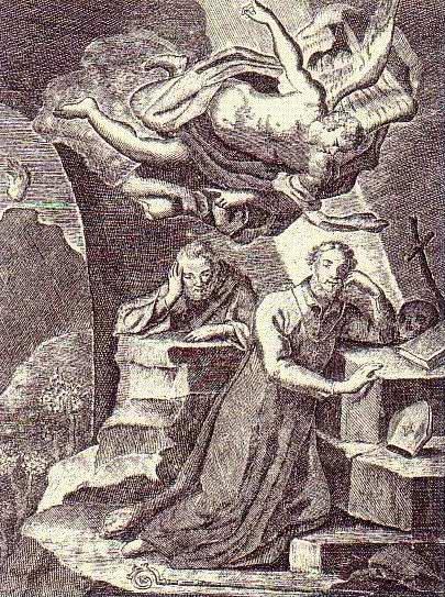 Apparizione nella grotta: San Michele desta Catello e Antonino