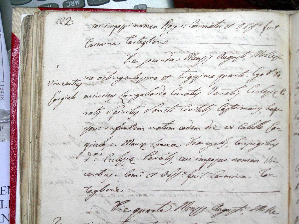 Libro XI Battezzati anno 1832-36 pag. 122 n.1 - Parrocchia dello Spirito Santo