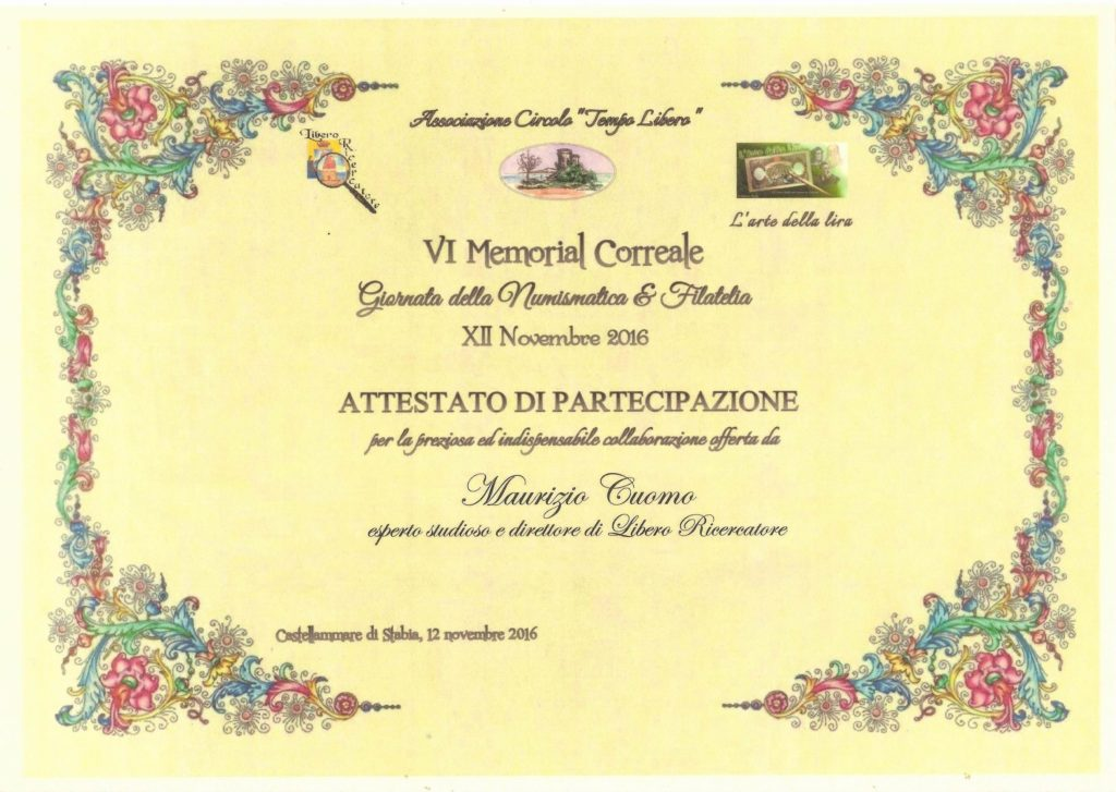VI Memorial Correale - Pergamena di riconoscimento a liberoricercatore.it