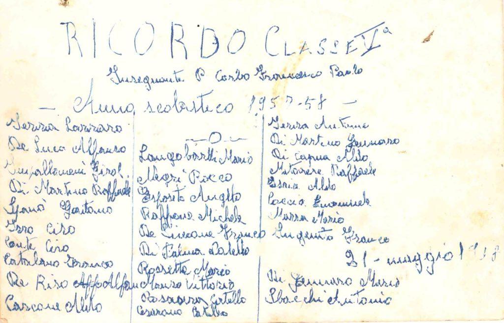 V elementare - prof. Corbo Francesco Paolo - anno 1957/58 (su gentile concessione del sig. Franco Ingenito)