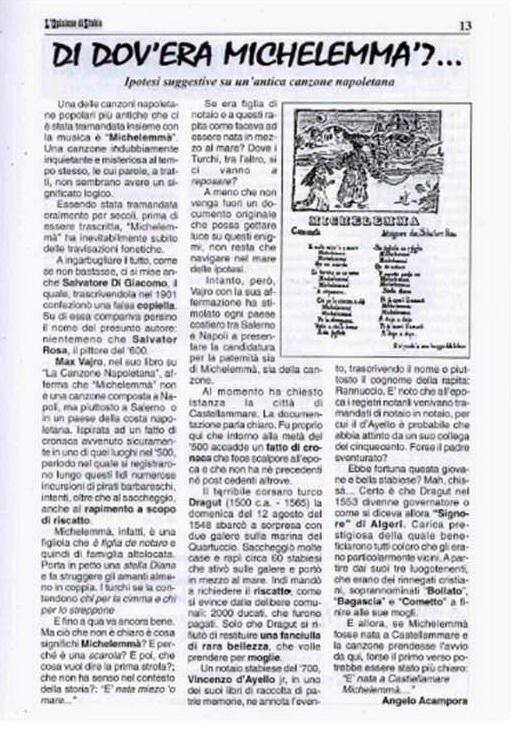 Opinione di Stabia, Settembre 1998, pag. 13 (Collezione Gaetano Fontana)