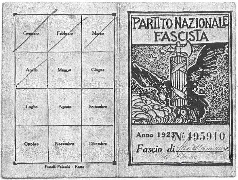 Achille Gaeta (tessera del Partito Nazionale Fascista - anno 1923)