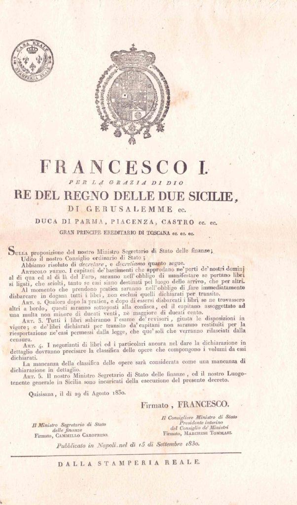 Quisisana - 29 agosto 1830 editto borbonico (coll. Gaetano Fontana)