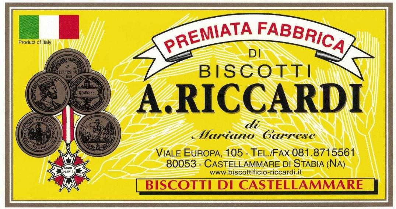"""Etichetta della """"Premiata Fabbrica di Biscotti A. Riccardi"""""""