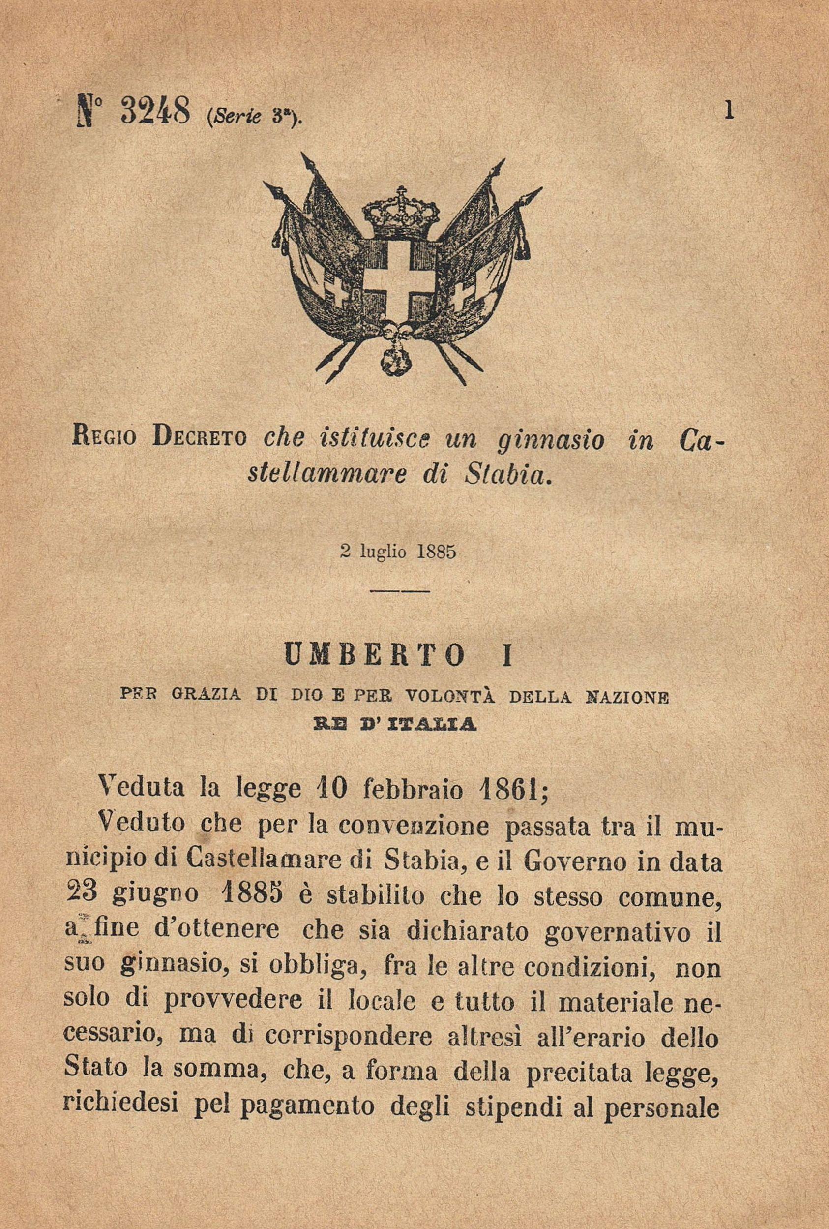 REGIO DECRETO: ginnasio in Castellammare di Stabia ( coll. privata prof. Bonuccio Gatti )