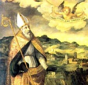 San Catello: particolare della tela attribuita a Giovan Battista Lama, conservata nel salone capitolare della Congrega dei Servi di Maria a Sorrento (secolo XVIII).