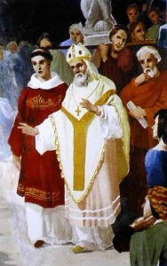 San Catello: particolare di affresco di V. Paliotti (1893 - volta centrale della Concattedrale di Castellammare di Stabia)