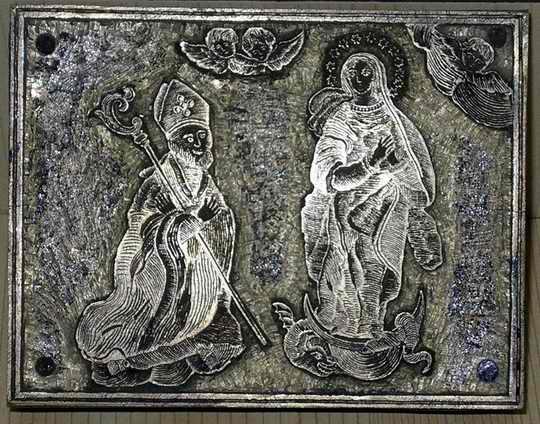 San Catello: timbro rettangolare in ottone (Reale Arciconfraternita dell'Immacolata Concezione e San Catello - Chiesa di San Giacomo Maggiore di Castellammare di Stabia)