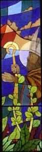San Catello: particolare della vetrata nel santuario del Faito (autore Massimo Sepe - 2005)