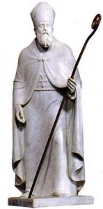 San Catello: statua marmorea nel santuario del Faito (autore Irace - 1955)
