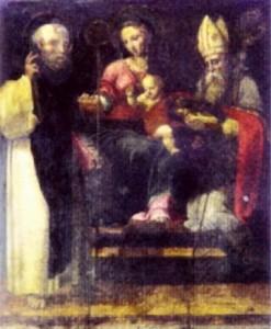 San Catello: La Madonna tra i santi Antonino e Catello (Luca de Maxo, 1539) basilica di Sant'Antonio a Sorrento.