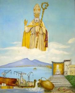 """San Catello: """"Benedizione del Santo Patrono alla Città"""" (dipinto dell'artista stabiese Ciro Alminni - anno 1993)"""