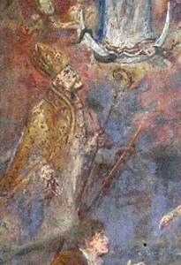 San Catello: particolare della edicola votiva dedicata all'Immacolata Concezione dipinta tra i Santi Catello e l'Arcangelo Raffaele.