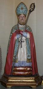 San Catello: statua lignea policroma dell'800 - pastorale in argento lavorato, occhi in vetro (coll. privata).