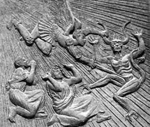 Particolare delle porte del duomo di Castellammare: l'Arcangelo Michele soccorre i Santi Catello e Antonino, scacciando il diavolo dal monte Aureo (A. Berti 1983).