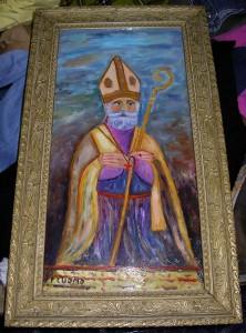 """Un quadro di San Catello a firma F. Cuomo (si ringrazia il sig. Michele della rivendita di abbigliamento """"Stracci preziosi"""" per la gentile concessione)."""