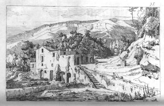 Achille Gigante (anno 1845): in alto a destra si scorge l'antica porta di Scanzano (coll. G. Fontana).