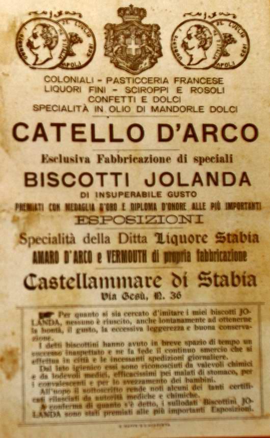 Biscotti Jolanda: pubblicità d'inizio Novecento
