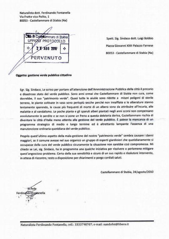 La lettera inviata nel 2010 al Sindaco Luigi Bobbio.