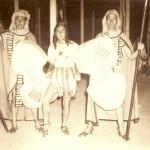 """Luglio 1958 (Terme Stabiane) """"Aida"""" (da sinistra): Gianfranco Sgubin (con lo scudo rovesciato), Ettore Benedetti e Beppe Cuomo"""