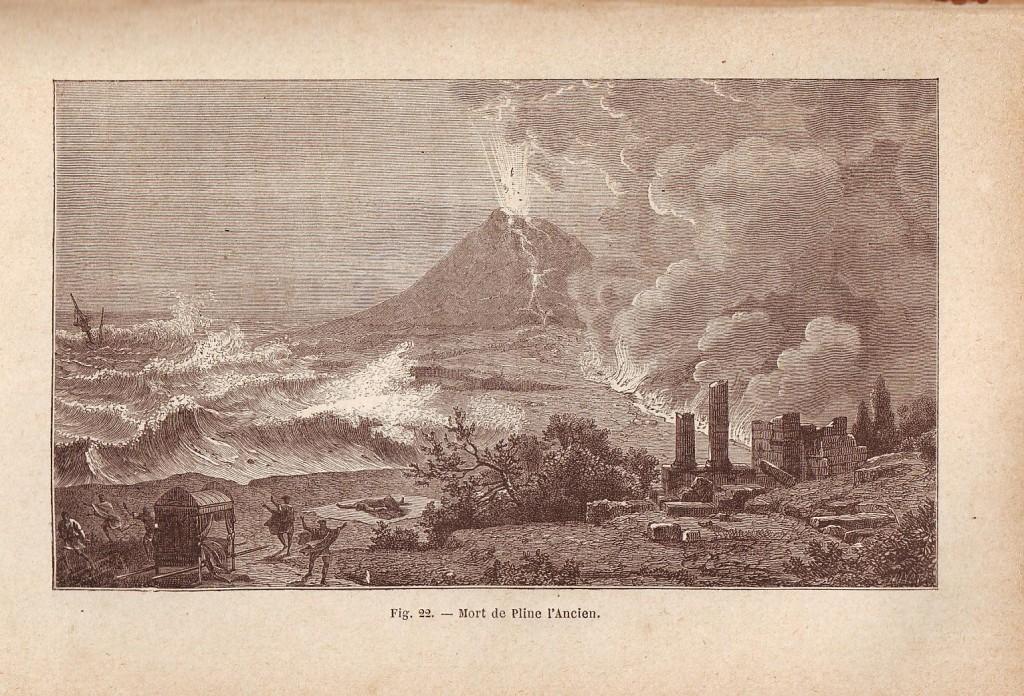 Litografia d'epoca dal titolo: Mort de Pline l'Ancien (Coll. Gaetano Fontana)