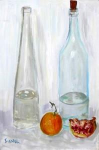 Bottiglie su fondo bianco