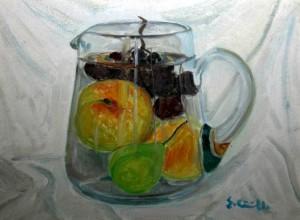 Frutta in brocca trasparente