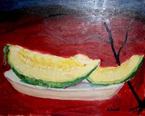 Melone di Natale su fondo rosso