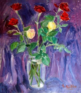Rose in vaso trasparente